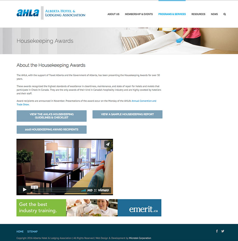 Alberta Hotel and Lodging Association - Mtek Edmonton Web Design and
